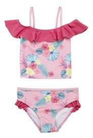 F&F Tropical Floral Print Bardot Tankini Set 12-18 months