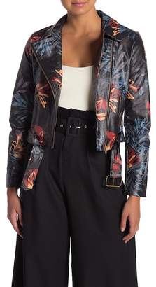 Flying Tomato Floral Faux Leather Jacket