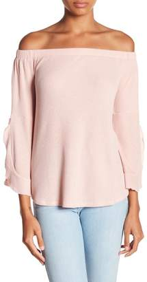 Timing Off-the-Shoulder Long Sleeve Ribbed Knit Top