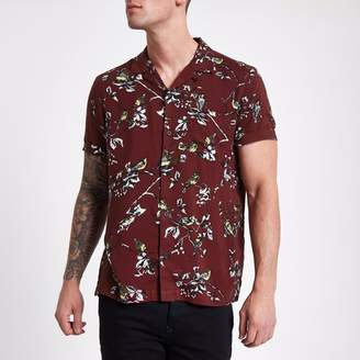 River Island Mens Dark Red floral print short sleeve shirt