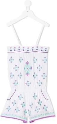 Elizabeth Hurley Kids polka dot embroidery playsuit