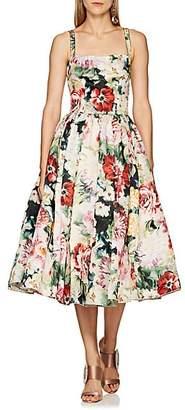 Dolce & Gabbana Women's Floral-Print Silk Organza Dress - Pink