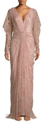 Tadashi Shoji Long Sleeve Embellished Column Gown