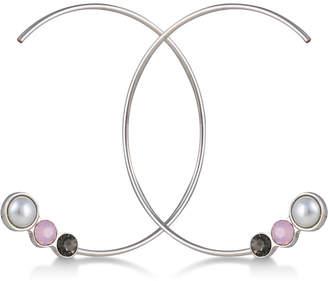 "GUESS Silver-Tone Crystal & Imitation Pearl 2"" Open Hoop Earrings"