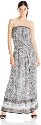 MSK Women's Printed Strapless Wide Leg Jumpsuit