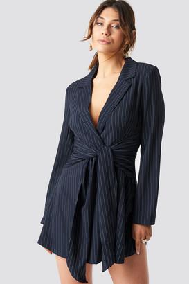 Karl Lagerfeld Paris Milena X NA-KD Pinstripe Knot Mini Dress Blue