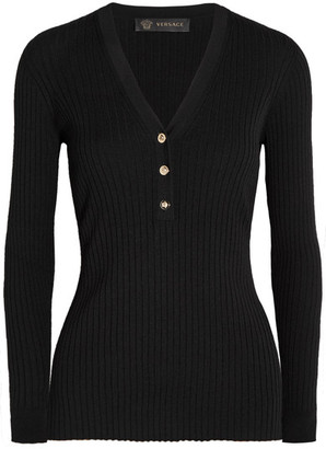 Versace - Ribbed Wool-blend Sweater - Black $625 thestylecure.com
