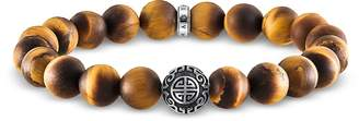Thomas Sabo Ethno Yellow Tiger Eye Beads and Sterling Silver Men's Bracelet