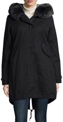 Woolrich Literary Fur-Trim Cotton Parka Coat, Black $975 thestylecure.com
