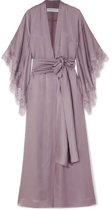 Carine Gilson Chantilly Lace-trimmed Silk Robe - Lilac