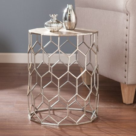Southern Enterprises Clara Honeycomb Metal End Table, Silver