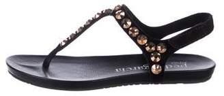 Pedro Garcia Suede Rhinestone Thong Sandals