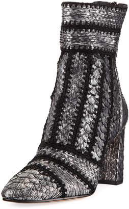 Alexandre Birman Beatrice Cross-Stitched Python Booties