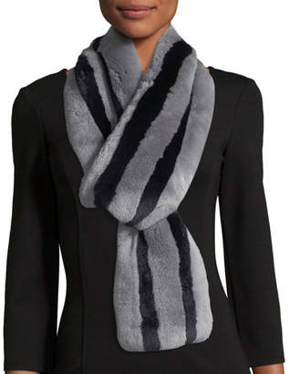 Kule Monroe Striped Fur Scarf