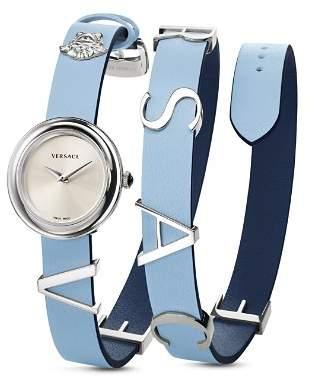 Versace V-Flare Light Blue/Dark Blue Watch, 28mm