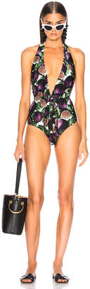 Adriana Degreas Fiore Twisted Halterneck Swimsuit in Purple | FWRD