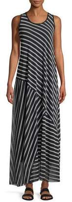 Fuzzi Striped Patch Sleeveless Maxi Dress