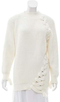 Victoria Beckham Lace-Up Accented Ribbed Knit Sweater