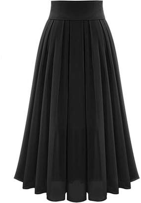 MorySong Chiffon High Waisted Pleated Maxi Women Beach Skirt Vintage Dress S