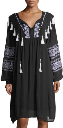 Chelsea & Theodore Split-Neck Embroidered Long-Sleeve Dress