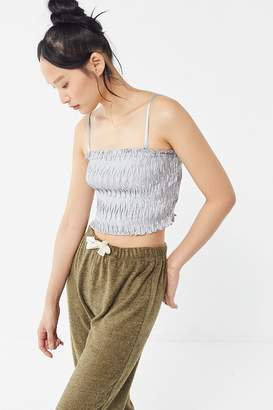 Urban Outfitters Vixen Plisse Straight-Neck Cropped Cami
