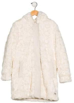 Chloé Girls' Faux Fur Leather-Trimmed Coat