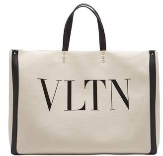 Valentino Vltn Canvas Tote Bag - Womens - Black / Cream