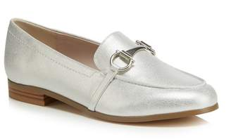 Faith Silver 'Agnes' Metallic Wide Fit Loafers