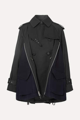 Sacai Cotton-gabardine And Wool-felt Trench Coat - Black