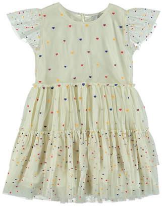 Stella McCartney Tiered Tulle Multicolored Heart Dress, Size 4-14