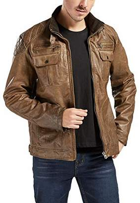 Trimthread Winter Thick Quilted Lining Full-Zip Distressed Moto Faux Leather Jacket (