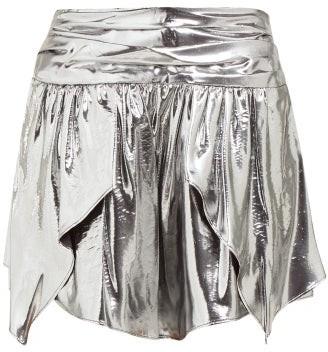 Isabel Marant Kira Metallic Silk Blend Mini Skirt - Womens - Silver