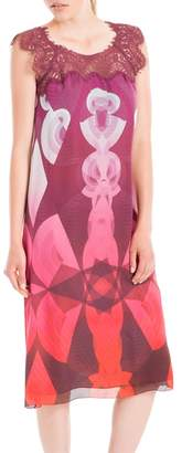 Max Studio Digitally Printed Silk Charmeuse Empire Dress