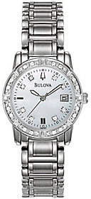 Bulova Ladies 24 Diamond Case & Bracelet Watchw/White Dial $379 thestylecure.com