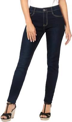KRISP Creased Dark Skinny Jeans (Navy, US 8),[5330-NVY-12]