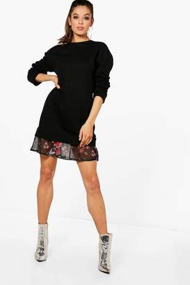 boohoo Floral Double Layer Sweat Dress