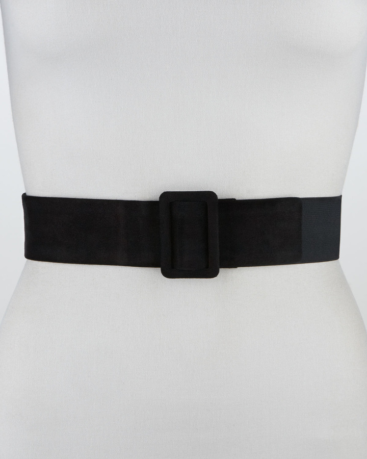 Lanvin Elastic-Backed Suede Belt, Black