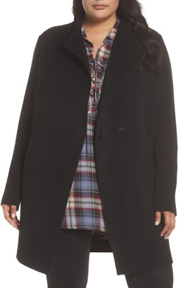 Kenneth Cole New York Double Face Wool Blend Knit Sleeve Coat