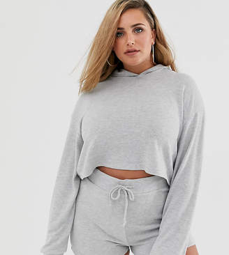 Loungeable mix & match plus size cropped lounge hoody in grey
