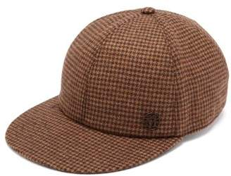 Maison Michel Hailey Dogstooth Wool Blend Cap - Womens - Brown