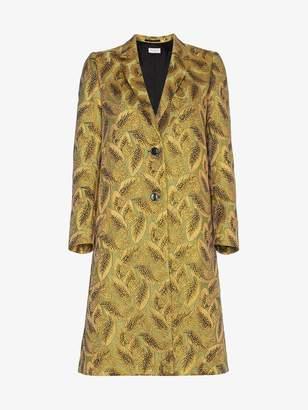 Dries Van Noten leaf jacquard coat