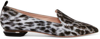 Nicholas Kirkwood Beya Leopard-print Calf Hair Point-toe Flats - Leopard print