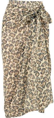 Eres Wild Leopard-print Cotton-voile Pareo - Anthracite