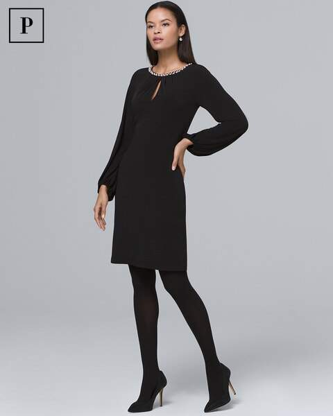 Whbm Faux Pearl-Neckline Black Knit Shift Dress