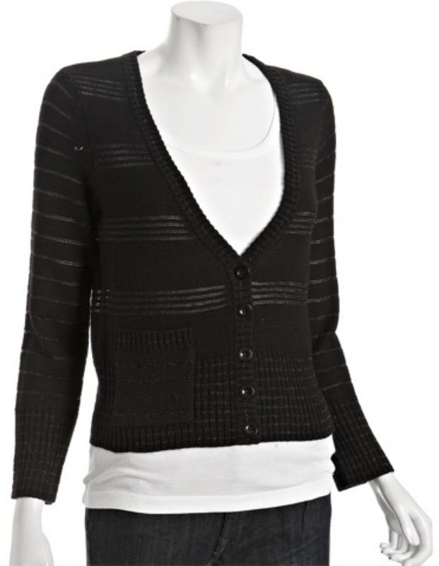 Marc by Marc Jacobs black wool chain link 'Clodie' v-neck cardigan