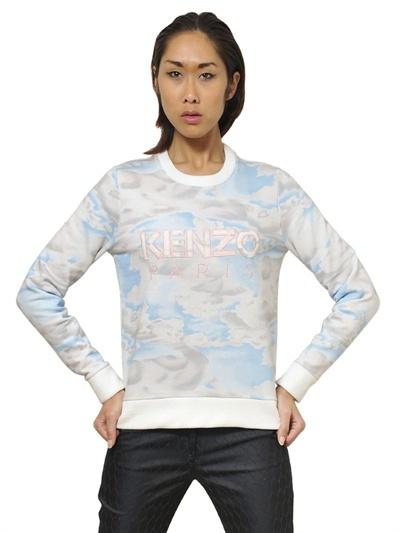 Kenzo Logo Printed Cotton Fleece Sweatshirt