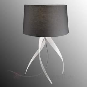 Dreibeinige Tischleuchte Medusa, Textilschirm grau