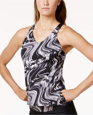 Nike Marble-Print Racerback Tankini Top Women's Swimsuit