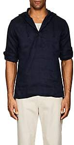 Onia Men's Hooded Linen Gauze Popover Shirt - Navy