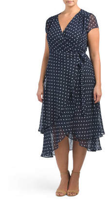 Plus Polka Dot Wrap Midi Dress